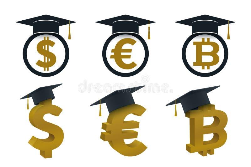 Concepts de chapeau d'obtention du diplôme avec la devise illustration libre de droits