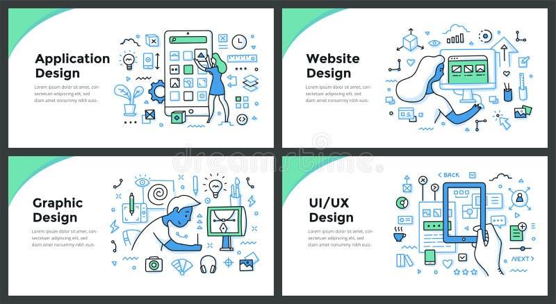 Concepts de conception et de griffonnage de couleur de développement illustration stock