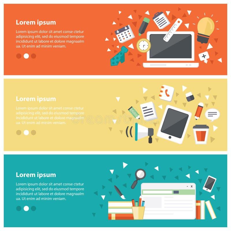 Concepts de construction plats pour l'éducation en ligne, cours de formation en ligne illustration libre de droits