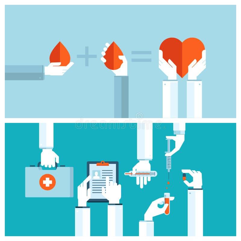 Concepts de construction plats pour la transfusion sanguine et les soins médicaux illustration de vecteur