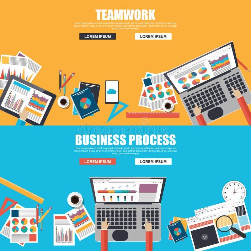 Concepts de construction plats pour le processus d'affaires et le travail d'équipe illustration stock
