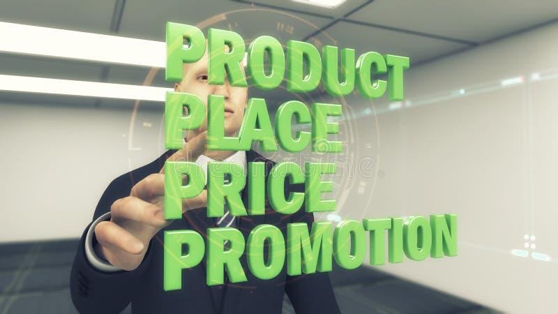 concepts de l'homme d'affaires 3d et de la vente sur un fond futuriste illustration de vecteur