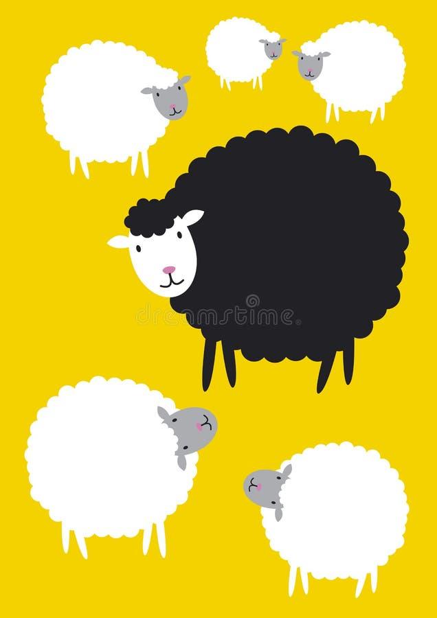 Concepts de moutons noirs illustration libre de droits