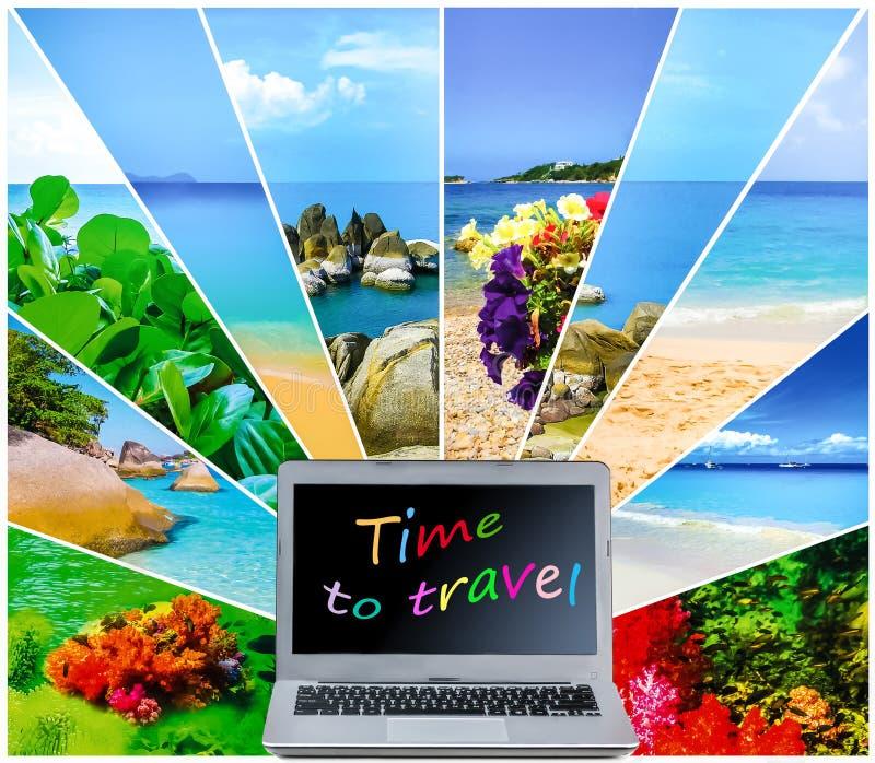Concepts de planification de voyage Vérifiant le carnet et vérifier le site Web image stock