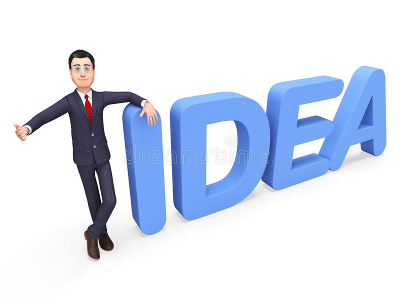 Concepts et inventions de commerce de Presenting Idea Indicates d'homme d'affaires illustration libre de droits
