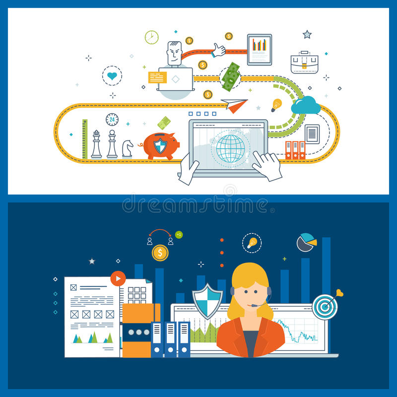 Concepts for financial report and strategy, technical support assistant. Concepts for business analysis and planning, financial report and strategy. Investment vector illustration