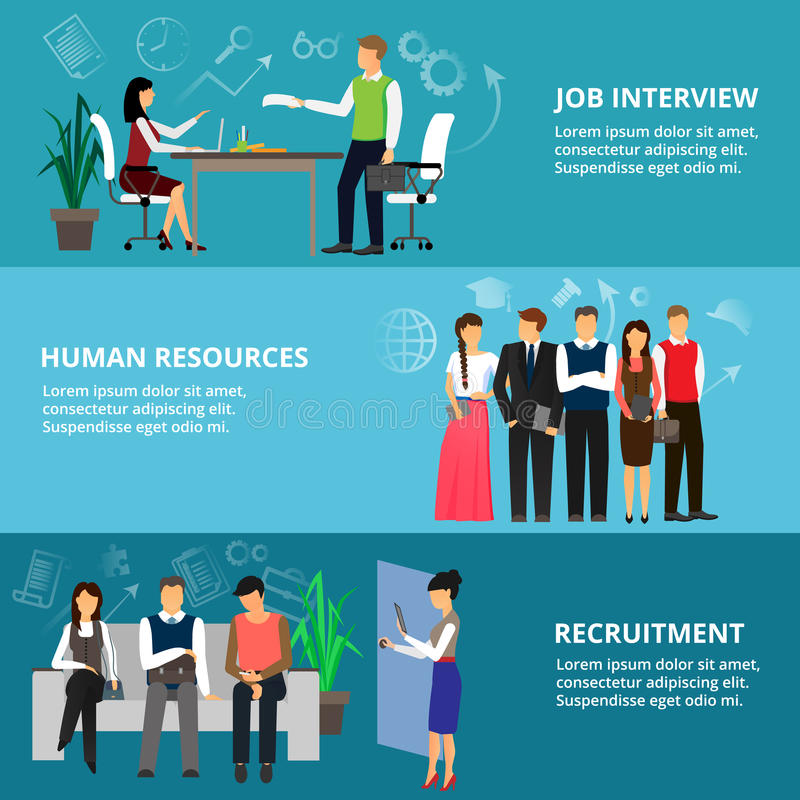 Concepts of job interview, human resources and recruitment stock illustration