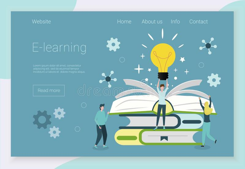 Concepts for language courses. Set of concepts for language courses, e-learning, online education, e-reading, e-library is shown. Modern vector illustration vector illustration