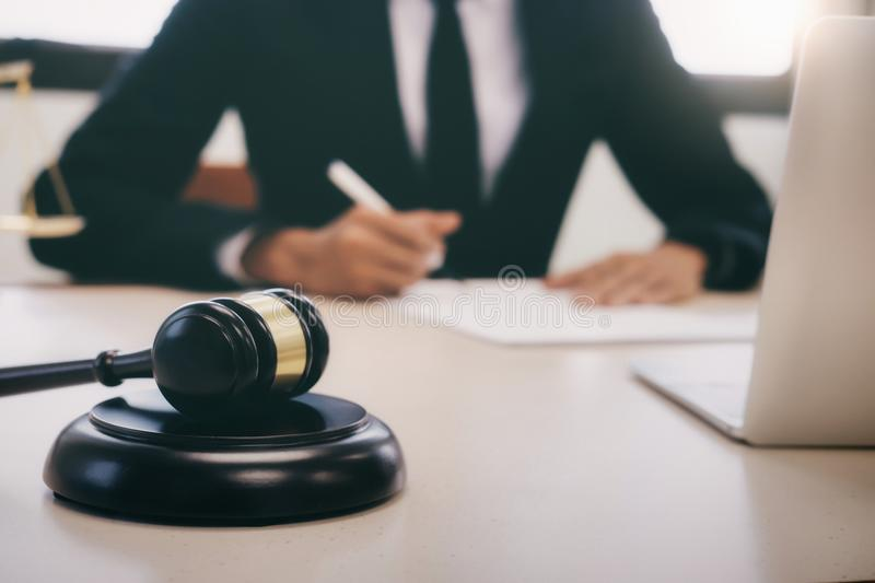 Lawyer or judge work in the office. stock image