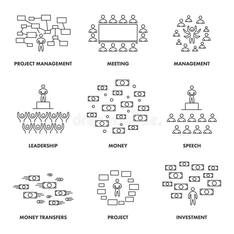 Concepts linéaires pour les réunions, la gestion et l'investissement illustration de vecteur