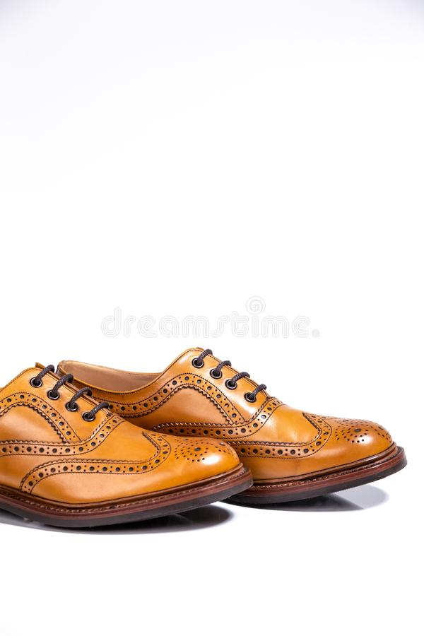 Concepts of Luxury Male Footwear. A pair of Full Broggued Tan Leather Brogues. Concepts of Luxury Male Footwear. A pair of Full Broggued Tan Leather Oxfords stock photography