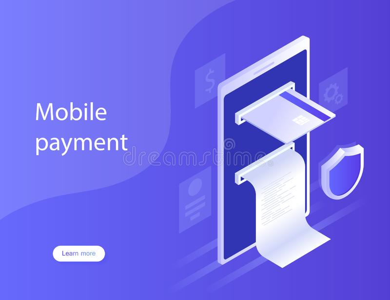 Concepts mobile payments, personal data protection. Design for Landing Page. Modern vector illustration in isometric style royalty free stock image