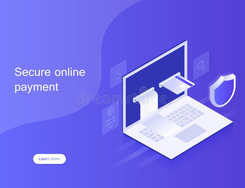Concepts online payments via laptop, personal data protection. Design for Landing Page. stock photo