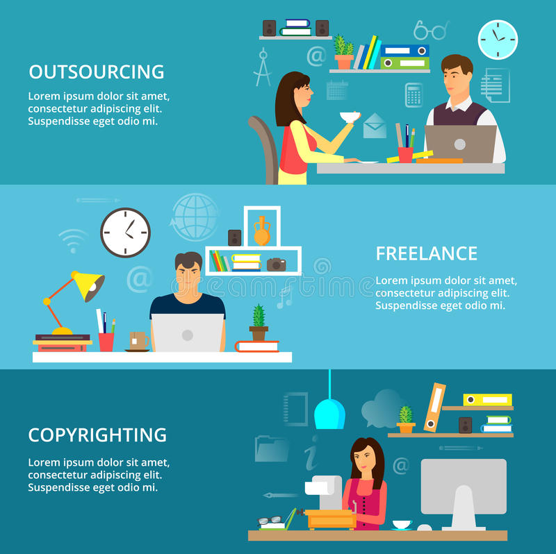 Concepts of outsourcing, freelance and copyrighting process. Modern flat thin line design vector illustration, concepts of outsourcing, freelance and royalty free illustration
