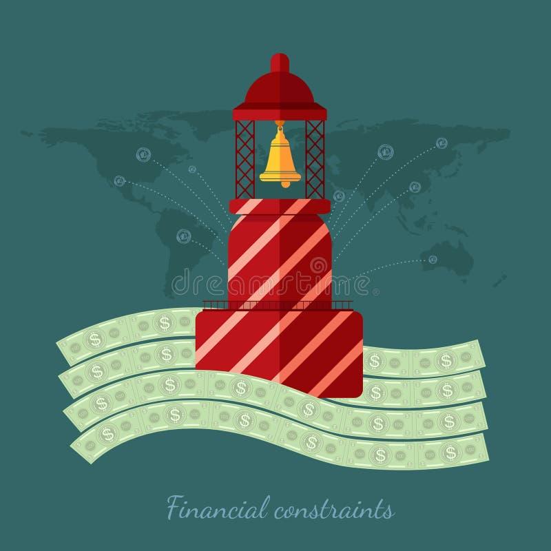 Concepts plats d'illustration de vecteur de conception des finances et des affaires, contraintes financières illustration libre de droits