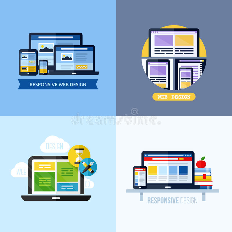 Concepts plats modernes de vecteur de web design sensible illustration libre de droits