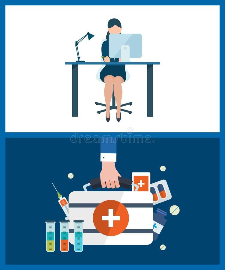 Concepts pour consulter, prévoyant, travail d'équipe, gestion des projets, soins de santé, aide médicale illustration de vecteur