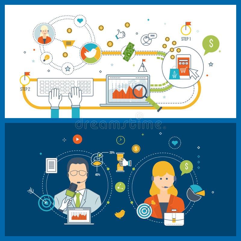 Concepts pour le service de soin de client professionnel, vente mobile, stratégie financière illustration stock