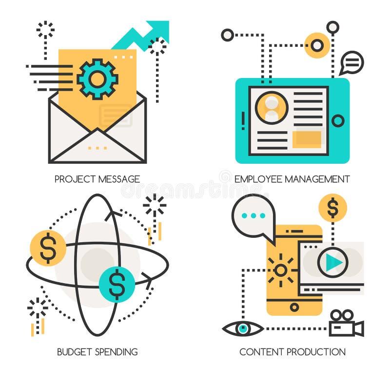 Concepts of Project Message , Employee Management. Flat line design vector illustration concepts of Project Message , Employee Management , Budget spending vector illustration