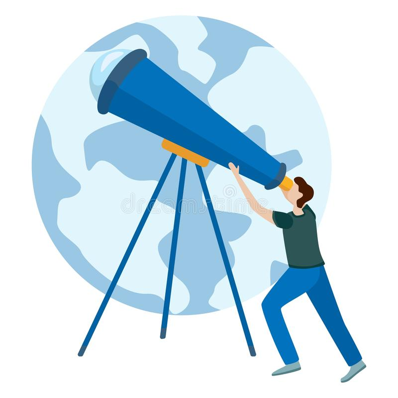 Concepts for website and applications. Astronomer looking through telescope royalty free illustration
