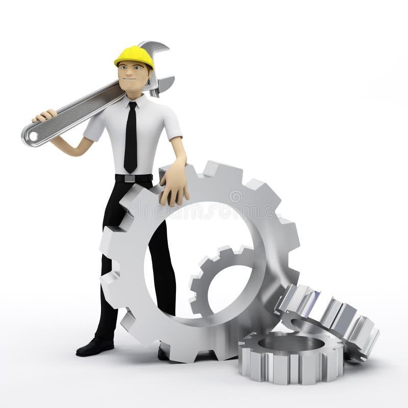 conceptua przygotowywa przemysłowego pracownika wyrwanie ilustracja wektor