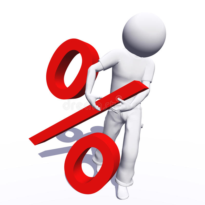 Conceptual 3D human with a percent. High resolution conceptual 3D human with a red percent symbol isolated on white vector illustration