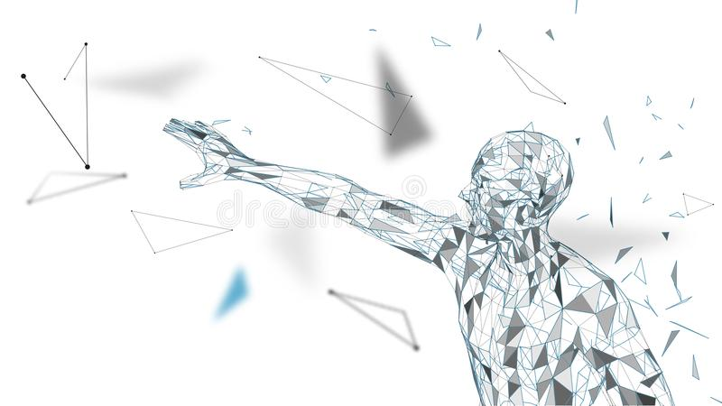 Conceptual abstract man touching or pointing to something. Connected lines, dots, triangles, particles. Artificial. Conceptual abstract mantouching or pointing vector illustration