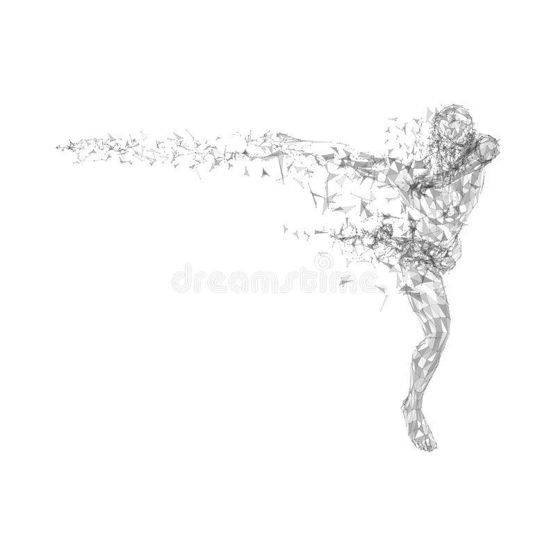 Conceptual abstract running man. Connected lines, dots, triangles, particles on white background. Science or technology royalty free illustration