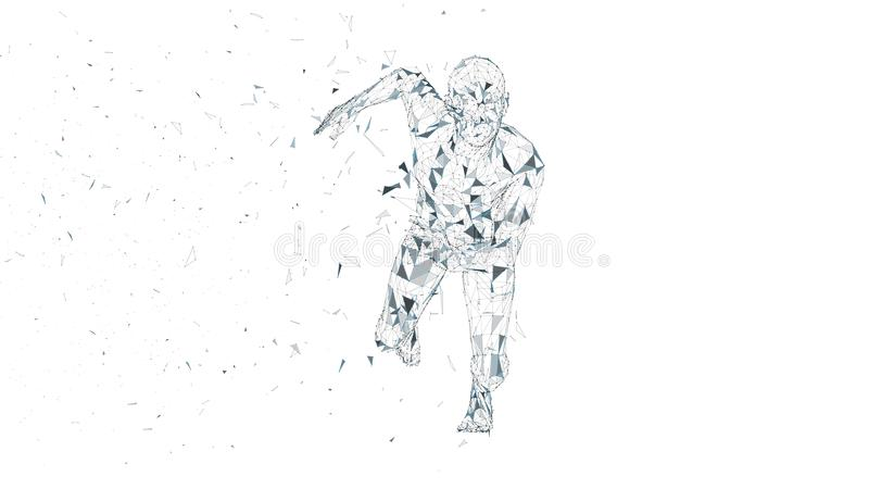 Conceptual abstract running man. Runner with connected lines, dots, triangles. Artificial intelligence, digital sport. Conceptual abstract running man. Runner royalty free illustration
