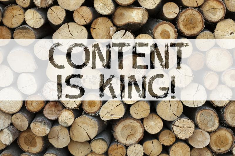 Conceptual announcement text caption inspiration showing Content Is King Business concept for Business Marketing Online Media writ. Ten on wooden background with royalty free stock photography