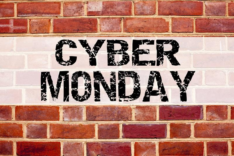 Conceptual announcement text caption inspiration showing Cyber Monday. Business concept for Retail Shop Discount written on old br. Ick background with copy stock photography