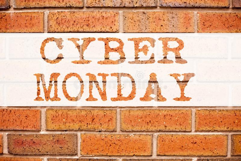 Conceptual announcement text caption inspiration showing Cyber Monday. Business concept for Retail Shop Discount written on old br. Ick background with copy stock photo