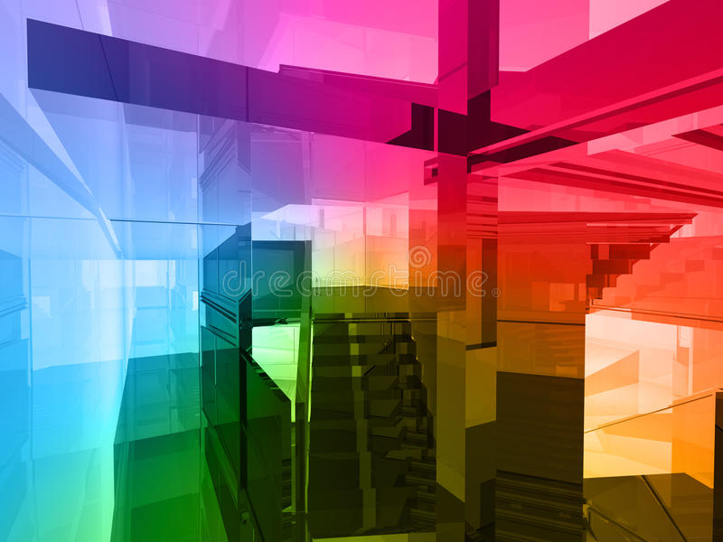 Conceptual architecture. Open space of colors royalty free illustration