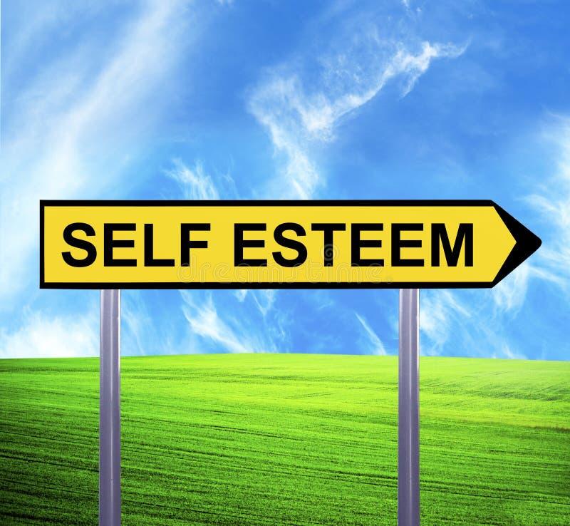 Conceptual arrow sign against beautiful landscape with text - SELF ESTEEM stock images