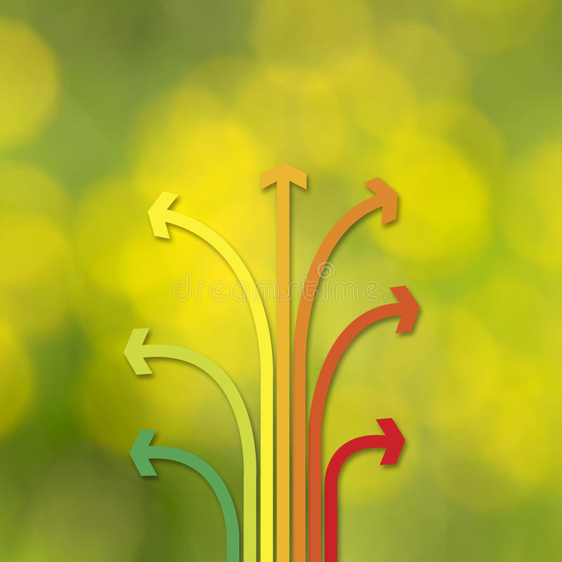 Conceptual arrows set nature bokeh background royalty free illustration