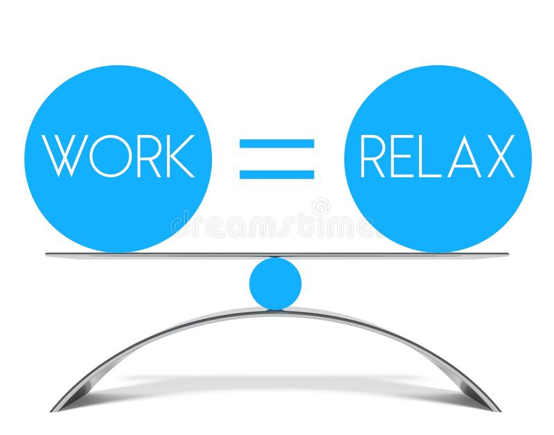 Conceptual balance of work and relax. Equation stock illustration