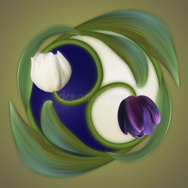 Conceptual banner of the yin-yang simbol. Poster of duality. Poster of duality. White and Black, Dark and Light. Conceptual banner of the yin-yang simbol stock illustration