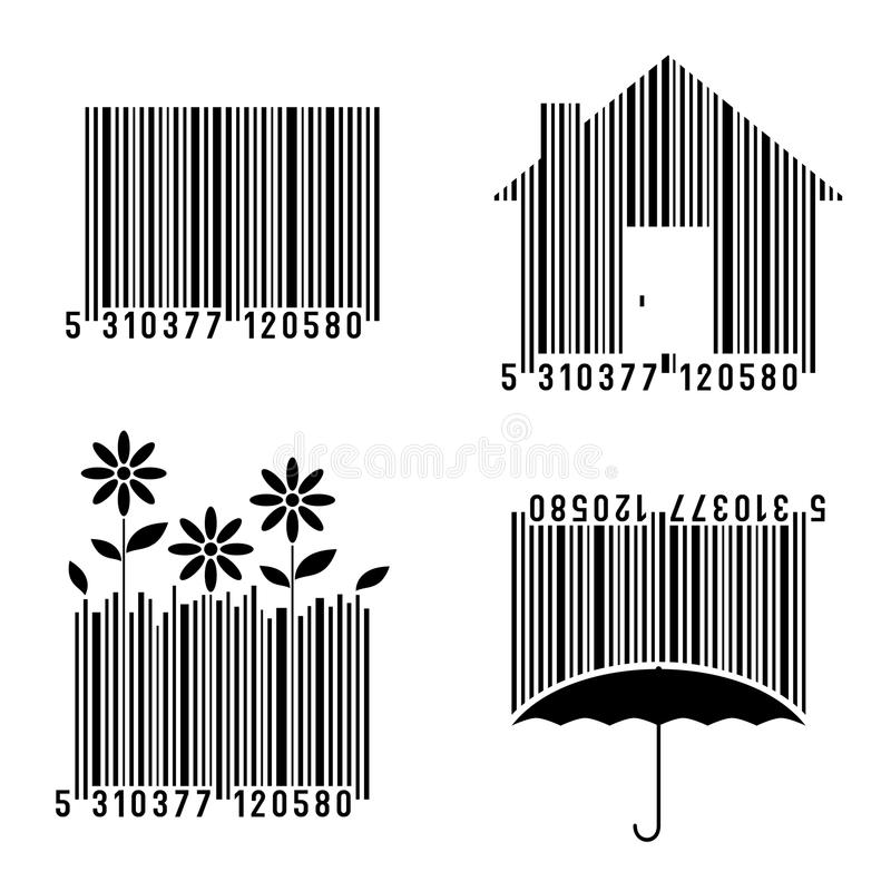 Conceptual Bar Codes Set. Isolated on white background. Eps file available royalty free illustration