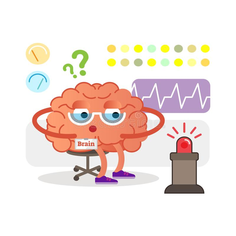 Conceptual brain cartoon character monitoring and receiving signals. Health care and medicine. Conceptual brain cartoon character monitoring and receiving vector illustration