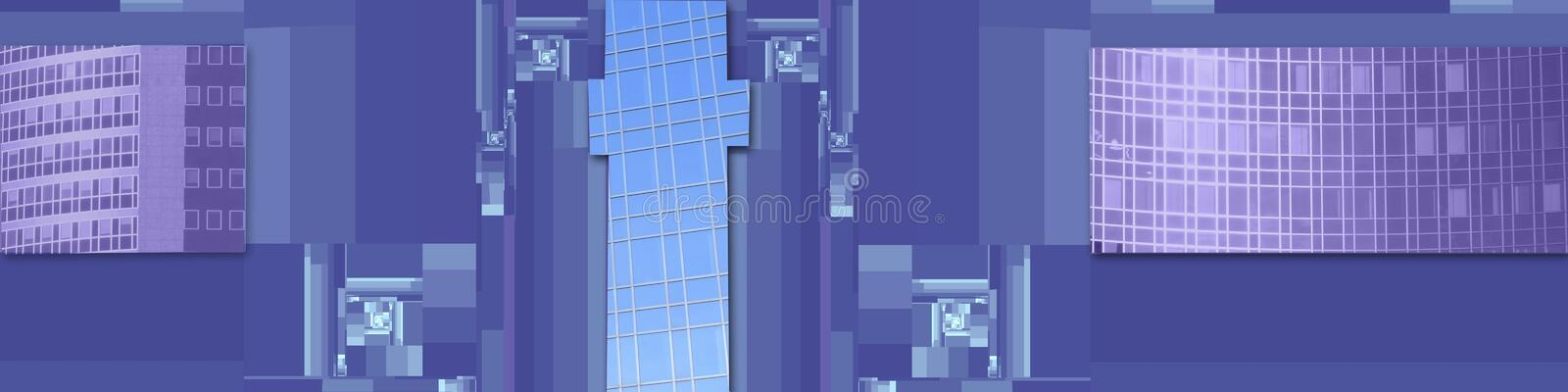 Conceptual business banner. This banner has mathematical shapes (squares and rectangles) and in some of them are parts of business buildings with grid-like widow vector illustration