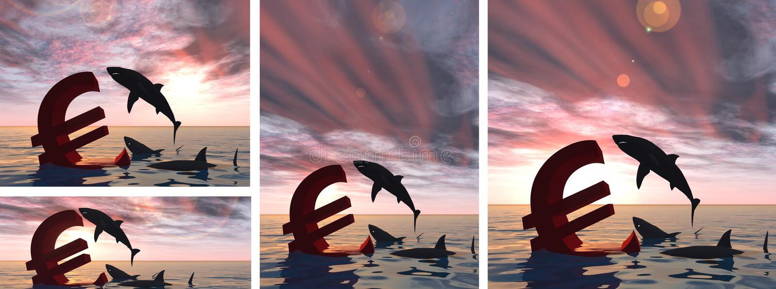 Conceptual business crisis with euro symbol. At sunset in water banner stock illustration