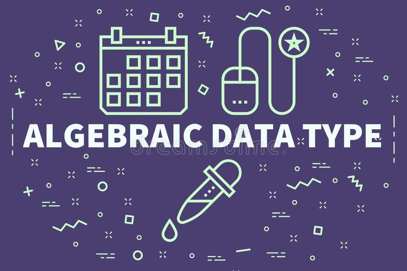 Conceptual business illustration with the words algebraic data t. Ype vector illustration