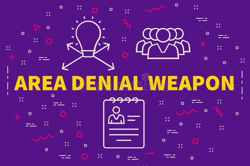 Conceptual business illustration with the words area denial weapon vector illustration