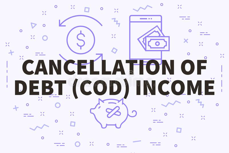 Conceptual business illustration with the words cancellation of. Debt (cod) income stock illustration
