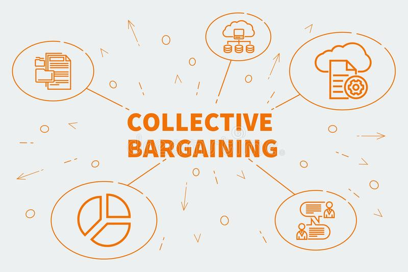 Conceptual business illustration with the words collective bargaining royalty free illustration