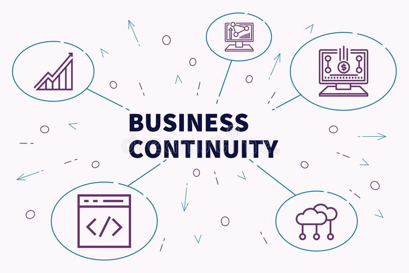 Conceptual business illustration with the words business continuity vector illustration