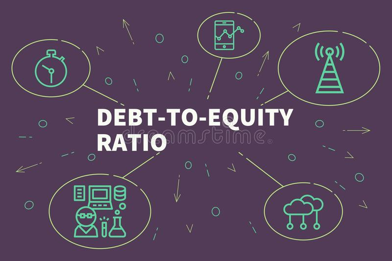Conceptual business illustration with the words debt-to-equity r. Atio vector illustration