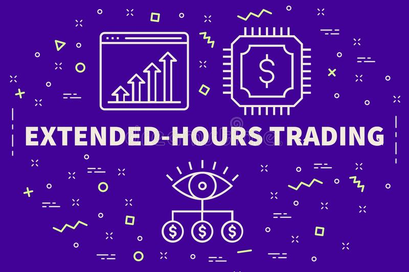Conceptual business illustration with the words extended-hours t. Rading royalty free illustration