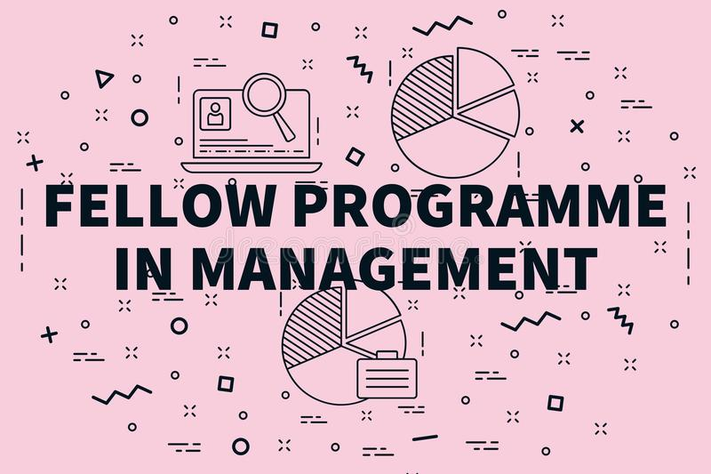 Conceptual business illustration with the words fellow programme in management stock illustration