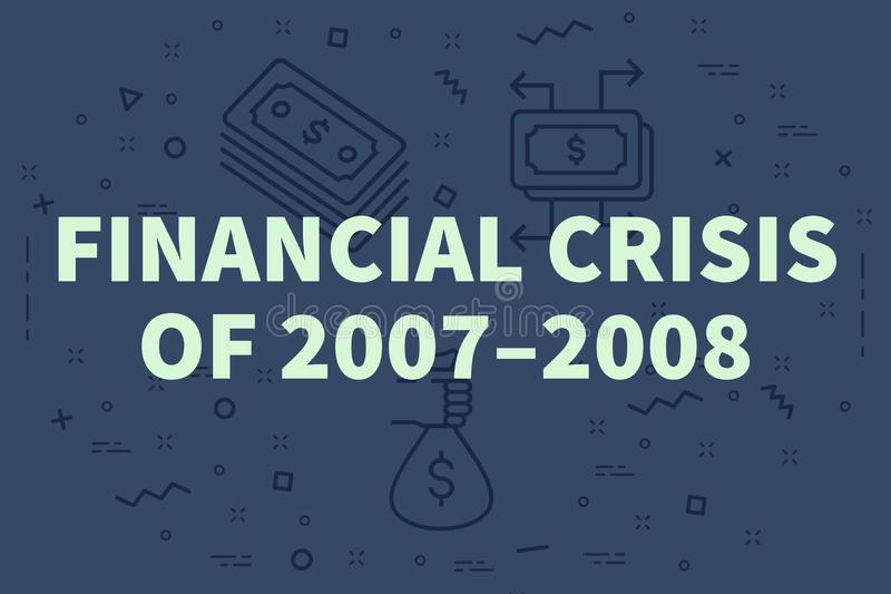 Conceptual business illustration with the words financial crisis royalty free illustration